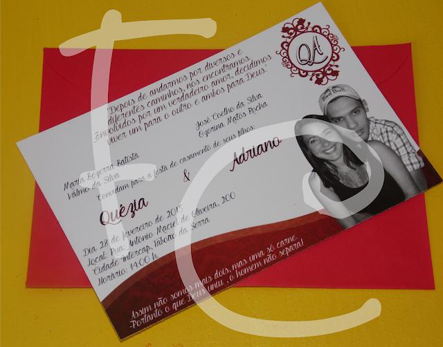 Convite - Casamento Vermelho e Branco