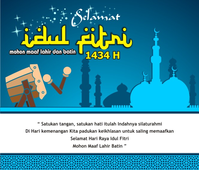 Kartu Lebaran Idul Fitri Night Blue Backround CDR