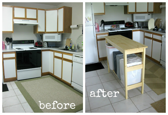 Before + After Small Space Portable Kitchen Island