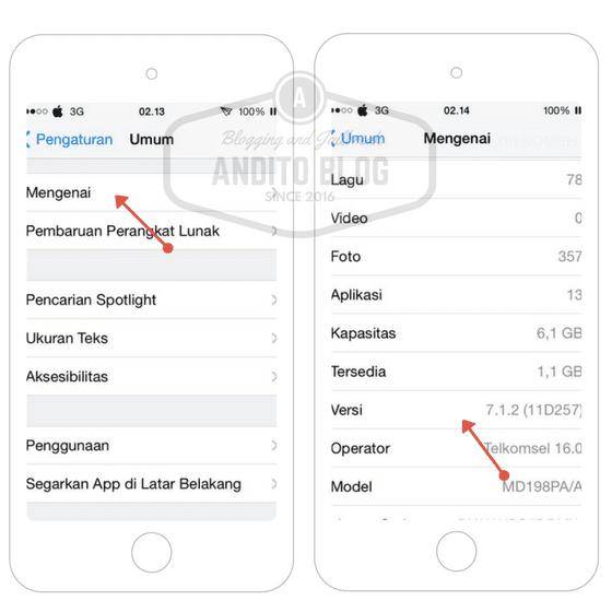 Mengecek Versi iOS di iPhone 4 iOS 7