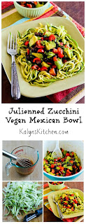 Julienned Zucchini Vegan Mexican Bowl with Black Beans, Avocado, Tomato, Poblano, and Lime [from KalynsKitchen.com]