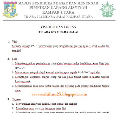 Misi dan Tujuan Taman Kanak-kanak Sesuai dengan Penilaian Setiap Point Akreditasi PAUD  Contoh Visi, Misi dan Tujuan Taman Kanak-kanak Sesuai dengan Penilaian Setiap Point Akreditasi PAUD