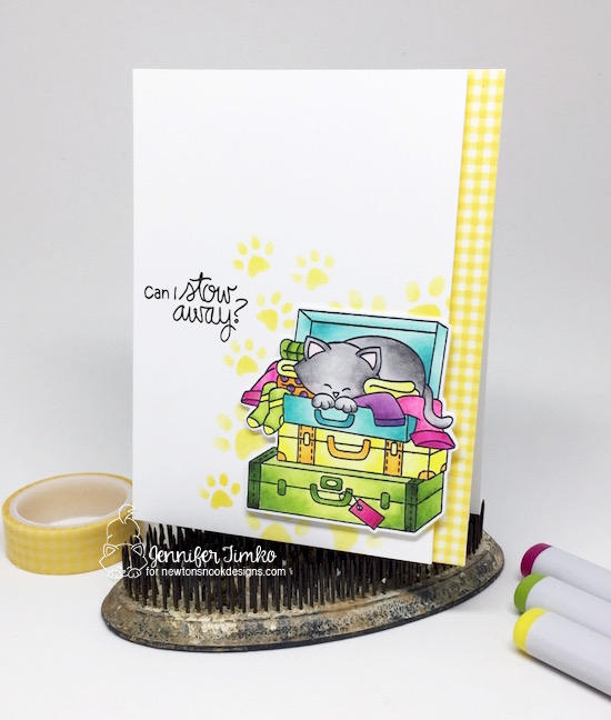 Cat in Suitcase Card by Jennifer Timko | Stowaway Newton Stamp Set and Pawprint Stencil by Newton's Nook Designs #newtonsnook
