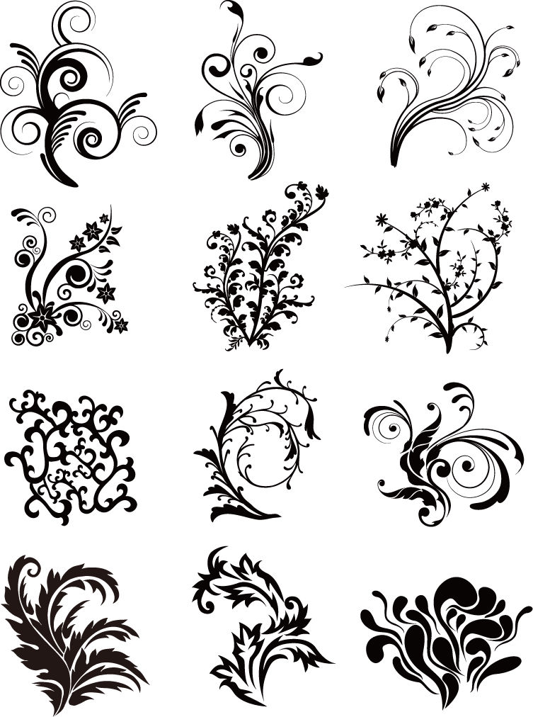 Free Vector がらくた素材庫: 植物の曲線のシルエット Floral Curves Vector Set