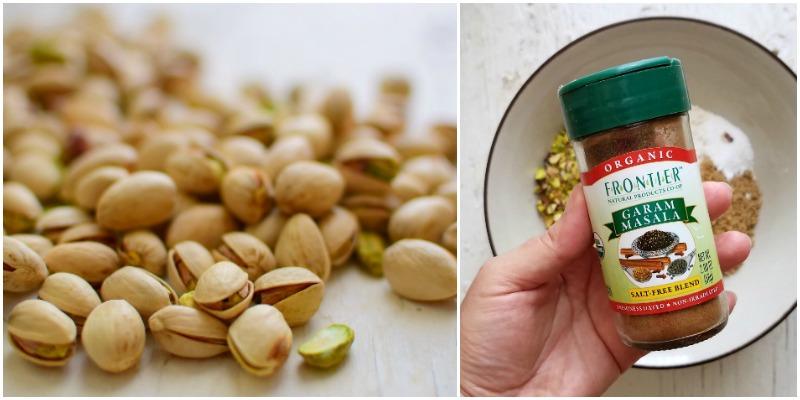 Ingredientes estrella de esta receta: pistachos para dar color y textura; garam masala para dar sabor y olor.