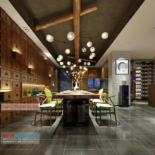 Thư viện 3D nội thất phòng ăn, bếp đẹp
