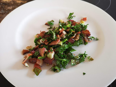 Kale, green onions and bacon