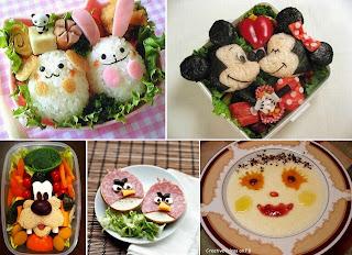bekal makanan dibentuk menyerupai tokoh kartun
