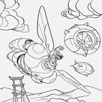 Flight of the imagination Baymax big hero 6 coloring pages robot man increasing rapidly in the sky