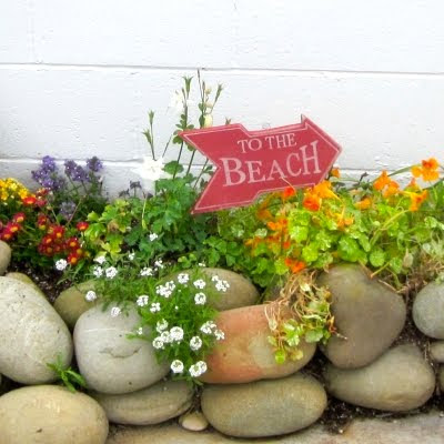 beach sign in the garden