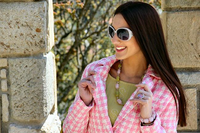 belo pink karirani sako jakna od tvida
