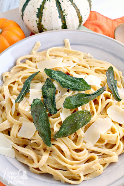This creamy & decadent Brown Butter Pumpkin Alfredo sauce with fettuccine is perfect fall comfort food.