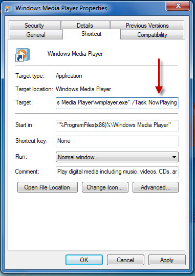 Windows Media Player: task now playing