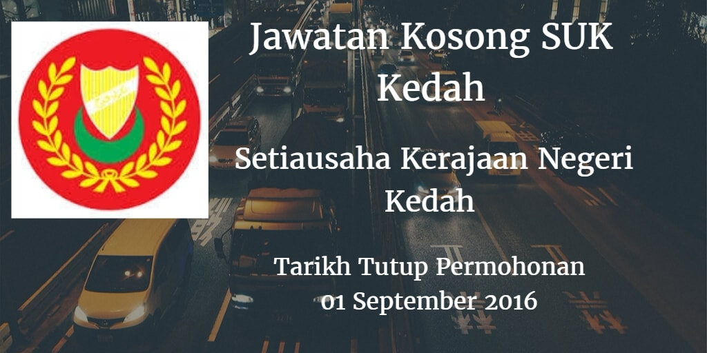 Jawatan Kosong SUK Kedah 01 September 2016