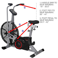 "Sunny Health & Fitness SF-B2706 Tornado Air Bike's 4-way adjustable seat, inseam range 29.5"" - 42.25"""