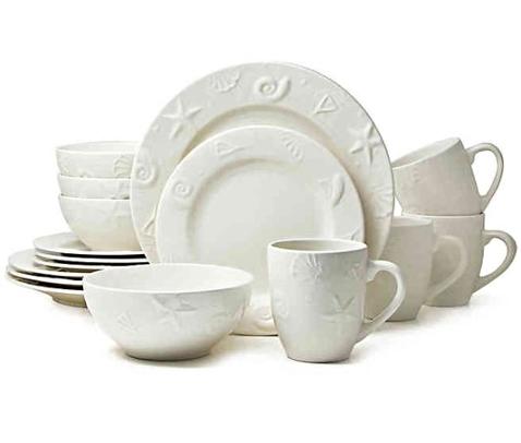 White Shell Embossed Coastal Ceramic Dinnerware Set