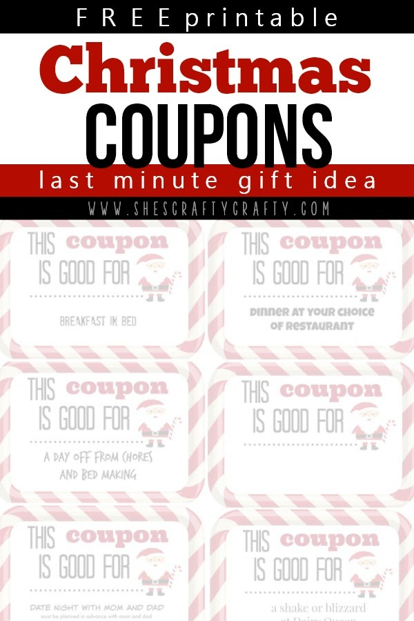 free printable Christmas Coupons, last minute Christmas gift