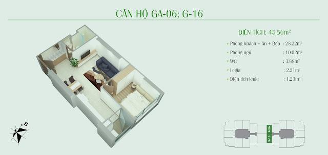 Thiết kế căn hộ 45m2 - 01 phòng ngủ
