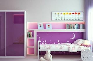 cuarto rosa lila niña