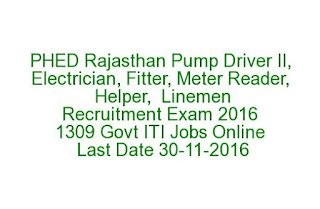PHED Rajasthan Pump Driver II, Electrician, Fitter, Meter Reader, Helper, Linemen Recruitment Exam 2016 1309 Govt ITI Jobs Online Last Date 30-11-2016