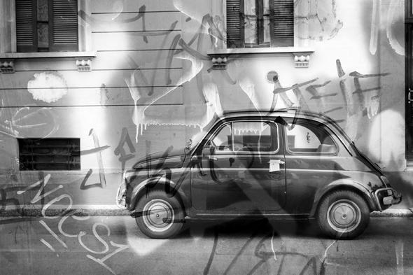 Fotografia di Fiat 500 con doppia esposizione