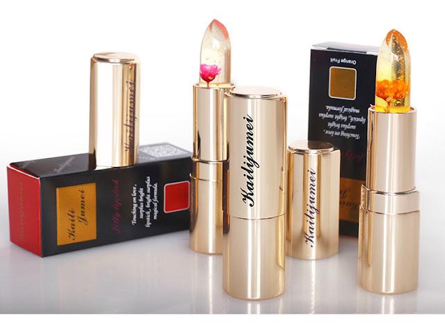 rossetto kailijumei rossetto con pagliuzze di oro e fiore al centro rossetto cambia colore con temperatura beauty trend beauty tips beauty blog kailijumei lipstick kailijumei jelly lipstick