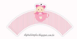 Wrappers para cupcakes de Bebé Niña en Rosa.
