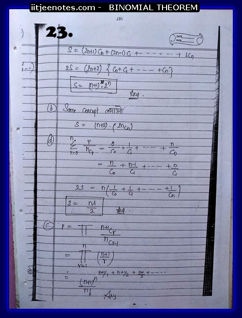 iitjee notes of maths