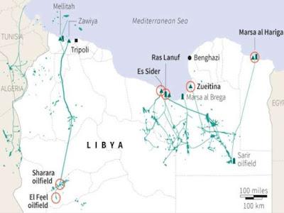 Zuwaytina, Ras Lanuf, Es Sider and Brega oil terminals in Libya