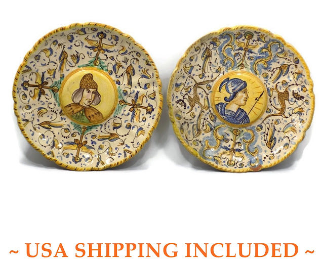 Italian Majolica Antique Renaissance Revival Pair of Portrait Plates