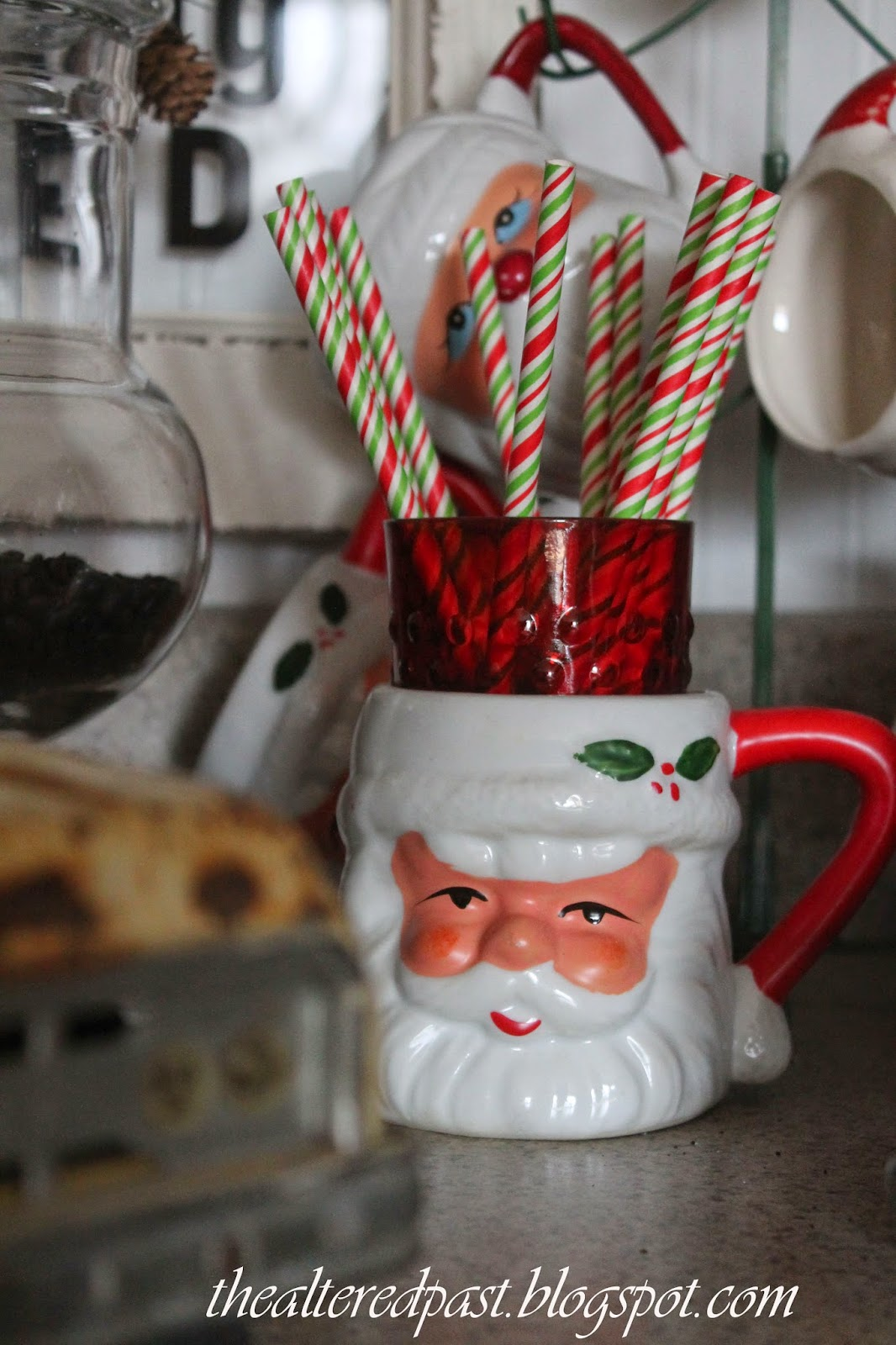 christmas home decor, vintage santa cup, beverage station, the altered past