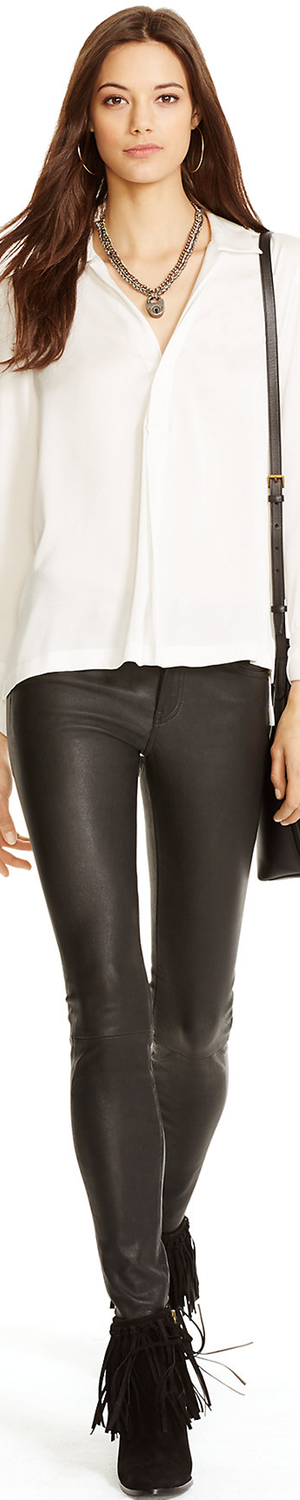 Ralph Lauren Stretch Leather 5-Pocket Pant