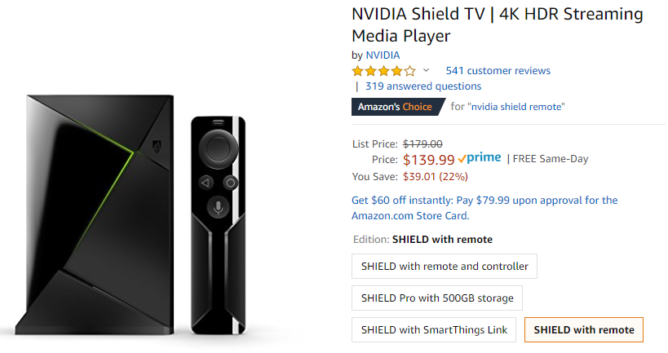 NVIDIA Shield Android TV (2017) on sale $39 off for $140 at