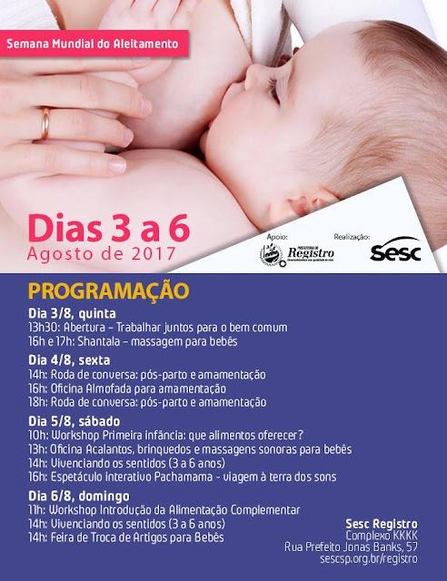 Programação especial no Sesc celebra a Semana Mundial do Aleitamento Materno