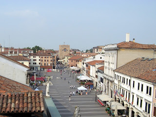 The Piazza Erminio Ferretto in Mestre, looking  towards the Torre Civica