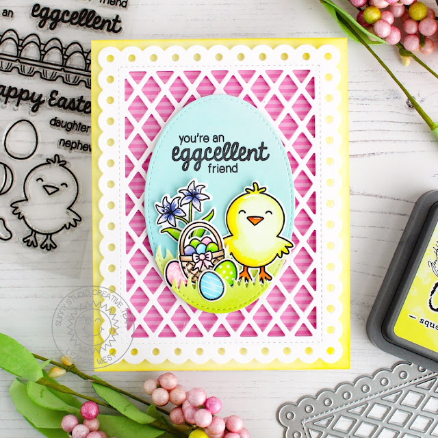 Sunny Studio Stamps: Frilly Frames Easter Wishes Stitched Ovals Friendship Card by Leanne West