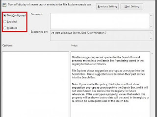 Turn off display of recent serach entries in the Windows Explorer search box