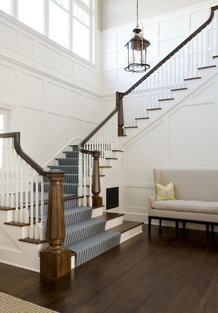 paneled wall on stairs
