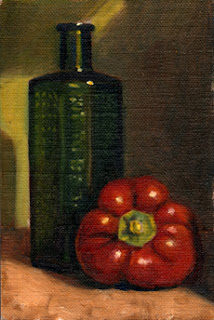 Oil painting of a red pepper beside a green glass bottle.