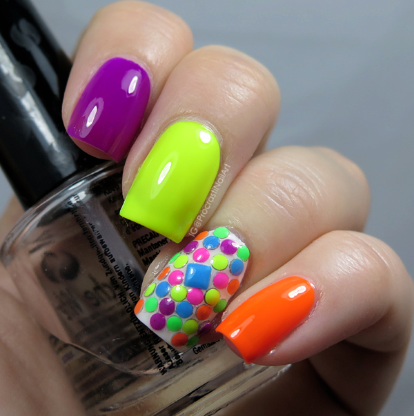 Neon Rainbow Skittle Mani with the Color Club Poptastic Neons