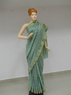 Green with golden border Chikankari Saree