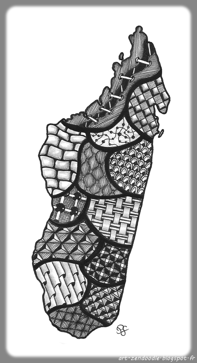 Madagarscar zendoodle zentangle