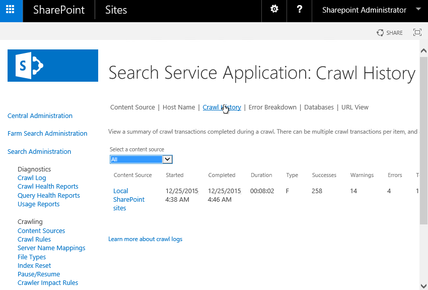 sharepoint 2013 export search crawl history to csv