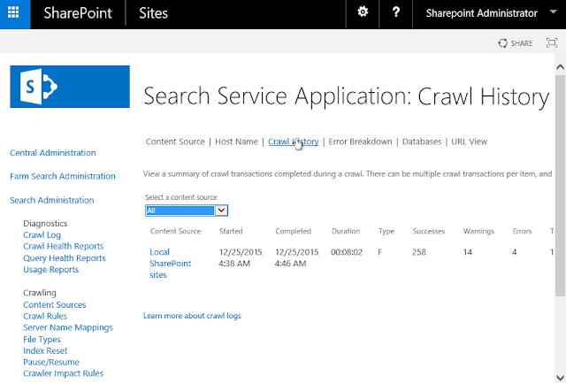 sharepoint 2013 search crawl history to csv