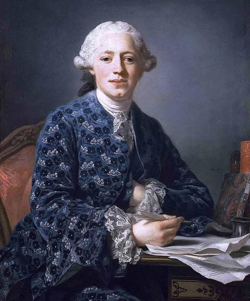 1700s Alexander Roslin portrait of a man in blue