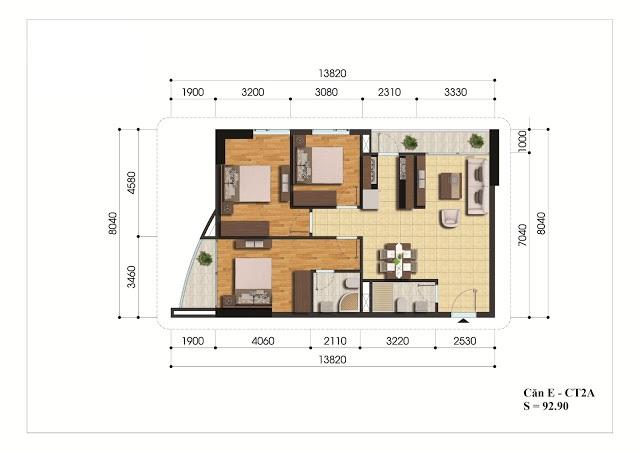Mặt bằng căn hộ E - CT2A chung cư Gelexia Riverside