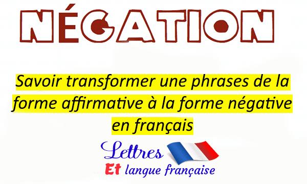 17 Phrases françaises et leurs formes négatives