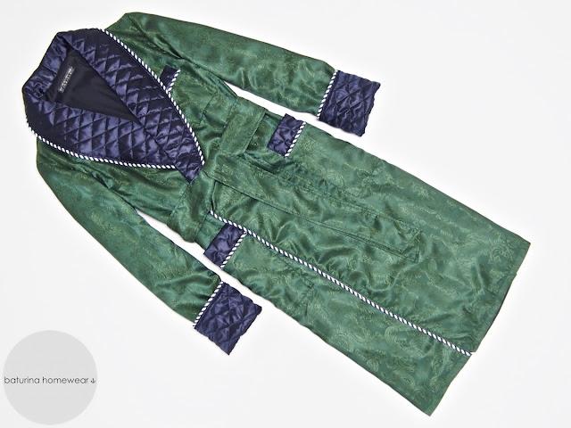 Men's paisley silk dressing gown green dark blue