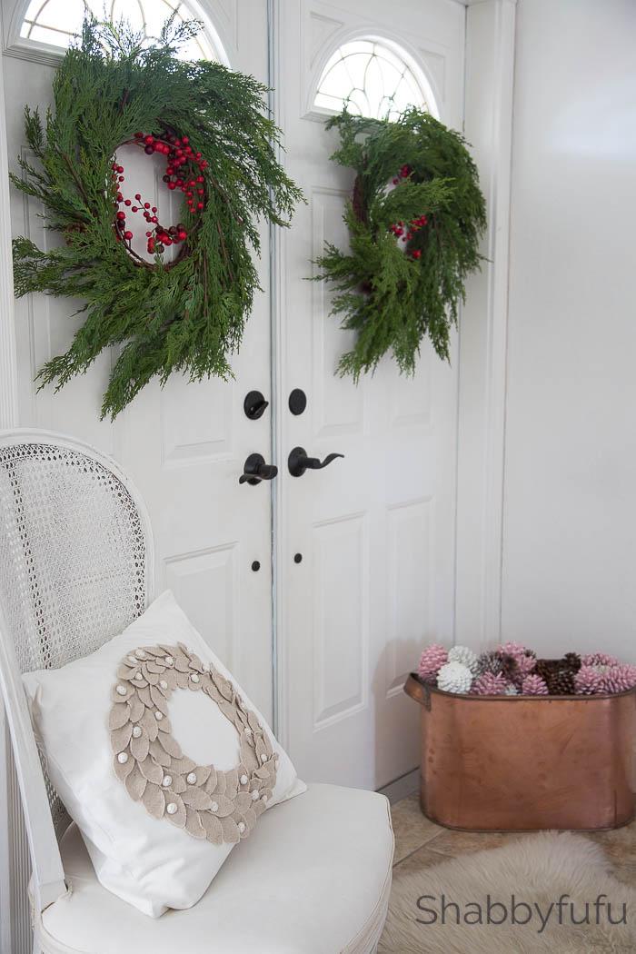 elegant french christmas entryway