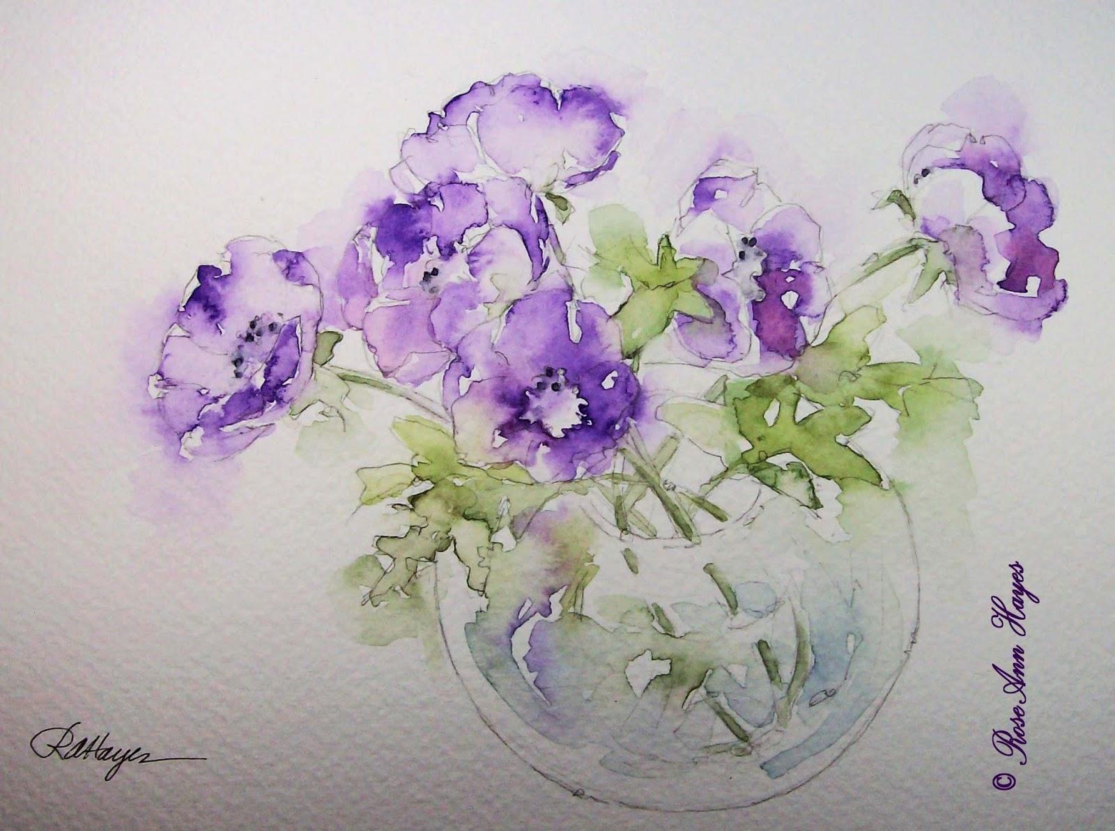 Watercolor Paintings By Roseann Hayes Purple Anemones